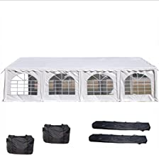 26'x16' PE Party Tent White - Heavy Duty Wedding Canopy Carport - with Storage Bags - By DELTA Canopies