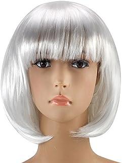 Xuxuou Peluca para Mujeres Mediano Corto Recta Flequillo Cabello Natural Cosplay Disfraz liso Peluca Pelo (