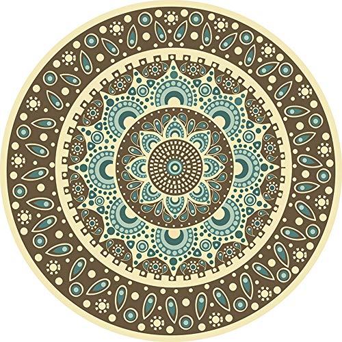 SXcarpet Runder Teppich Persian Mandala Pattern Rutschfester Badteppich im ethnischen Stil aus weichem, flauschigem Samt für das Wohnzimmer,Color,100CM