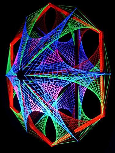 PSYWORK 3D StringArt Out of Space - Guirnalda de luces en forma de hexágono (1,15 m)