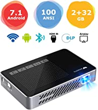 "Mini Projector WOWOTO A5 Pro Android 7.1 100ANSI 2+32G Portable DLP Video Projector 150"" Home Theater Projectors with BT4.0 Support WiFi Wireless Screen Share 1080P HDMI USB SD Card"