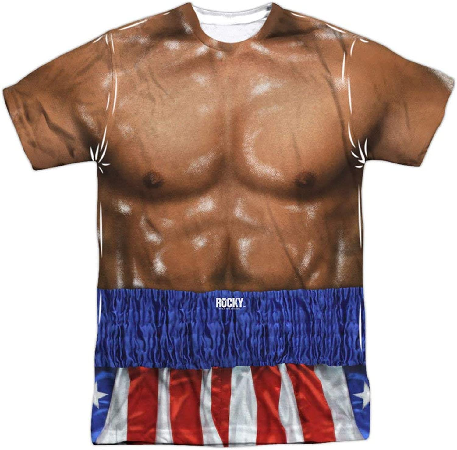 Victory Eletina Rocky Apollo Creed Muscle Torso Costume Front Back Print T-Shirt White