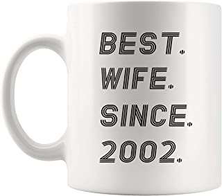 Husbands Wives Gift - 17th Wedding Anniversary Gifts Wife since 2002 11Oz Cup Mug - Gift from Husband Valentine Wedding Best Off-Registry Wedding Gift Shirt