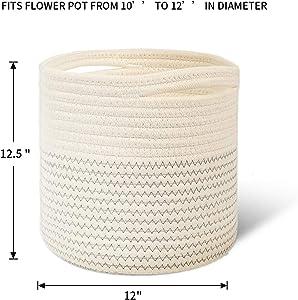 Lubasket Cotton Rope Plant Basket Modern Woven Basket Pot Indoor Planter Up to 12 Inch Pot Storage Organizer Basket Rustic Home Decor (A-1 Pack,12.5 in)