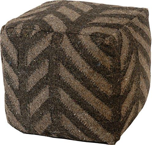 korb.outlet Hocker/Sitzwürfel mit Kelim Muster Streifen aus Wolle, handgewebt 40x40x40cm - Schwarz, Grau (008)