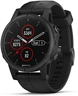 Garmin fénix 5S Plus - 带音乐、地图和Garmin Pay 的紧凑型多运动手表 Black w/black band 47MM