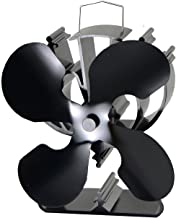 4-Blade Heat Powered Stove Fan for Wood/Log Burner/Fireplace Increases 80% More Warm air Than 2 Blade Fan- Eco Friendly(Bl...