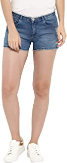 KVL Womens Cotton & Elastane Woven Solid Denim Shorts - Blue