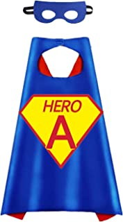 Cartoon Hero Theme Party Dress Up Costume Two Side Stain Cape and Felt Mask Hero Logo and 26 Letters Choice
