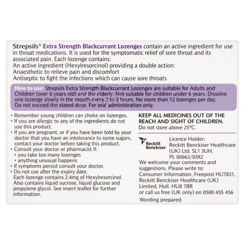 Strepsils Extra 24 Blackcurrent Lozenges