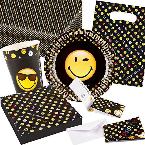 105-teiliges Party-Set * SMILEY-WORLD * für Kindergeburtstag und Motto-Party // Teller + Becher + Servietten + Tischdecke + Einladungen + Partytüten + Luftballons + Deko // Kinder Geburtstag Emoji