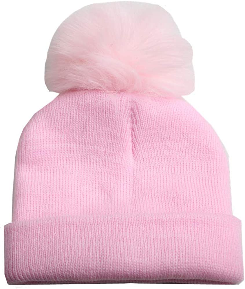 Toddler Kids Winter Warm Beanie Many popular brands Hats Boys Fur with Rapid rise Faux Pom for