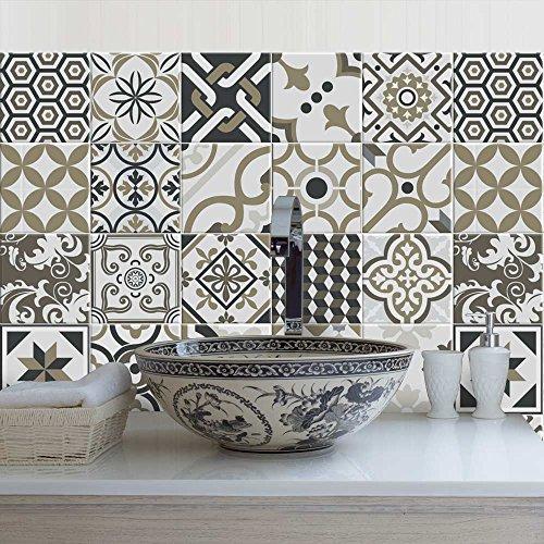 Paquete de 12 pegatinas de PVC para decoración de azulejos, de vinilo para baño y cocina, 15 x 15 cm, fabricadas en Italia - PS00081
