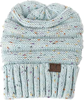 Winter Warm Slouch Baggy Beanie Beret Hollow Out Knitted Crochet Hat. Hats & Caps (Color : Light blue)