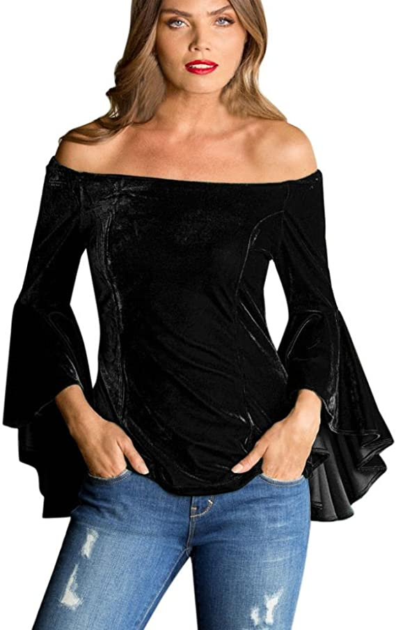 FAMILIZO Camisetas Mujer Manga Larga Algodon Terciopelo Moda Camisetas Mujer Tallas Grandes Camisetas Mujer Verano Blusa Mujer Sin Hombros Sport Tops ...