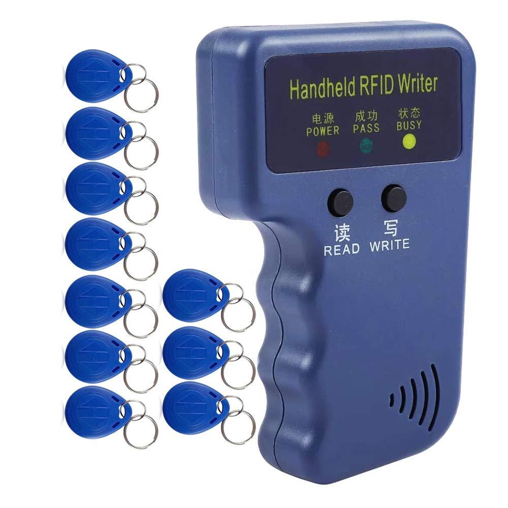 LEXI Handheld 125KHz RFID Reader Writer Duplicator Copier, Upgrade ID Card Cloner Programmer, with 10pcs Rewritable Cards EM4305/T5577 UID