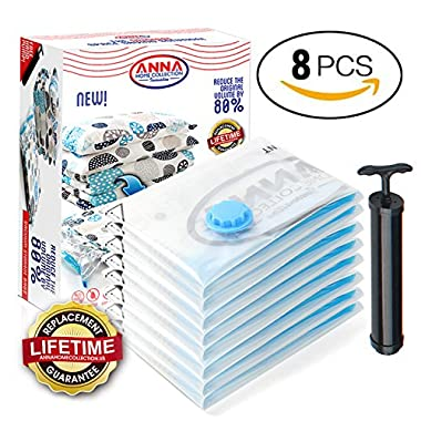 Anna Home Premium Vacuum Storage Bags 8 Pack (6 x Jumbo, 2 x Medium) Space Saver Storage Bags for Travel. Durable and Reusable, Travel Hand Pump Included