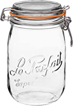 Le Parfait Super Jar - 1L French Glass Canning Jar w/Round Body, Airtight Rubber Seal & Glass Lid, 32oz/Quart (Pack of 4) Stainless Wire