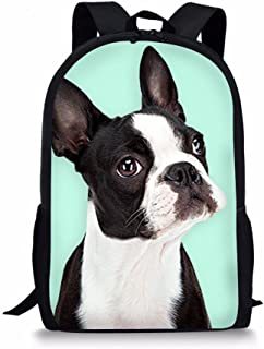 Dzulife Boston Terrier Pattern Stylish Children School Bag Cool Dog Backpack Lightweight Shoulder Bookbag Light Blue