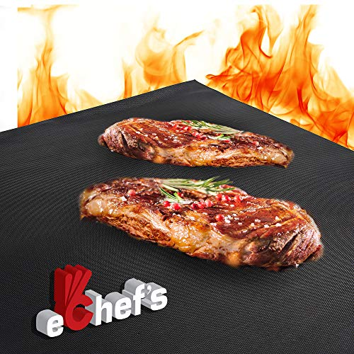 BBQ Grill Mat, Baking Mat - 100% Food-Safe - 2 Pack – 15.75x13 Inches   Non-Stick   0.39mm Thick Heavy Duty Grill Accessory for Heat up to 600 Degrees – Reusable - Dishwasher Safe - PFOA Free