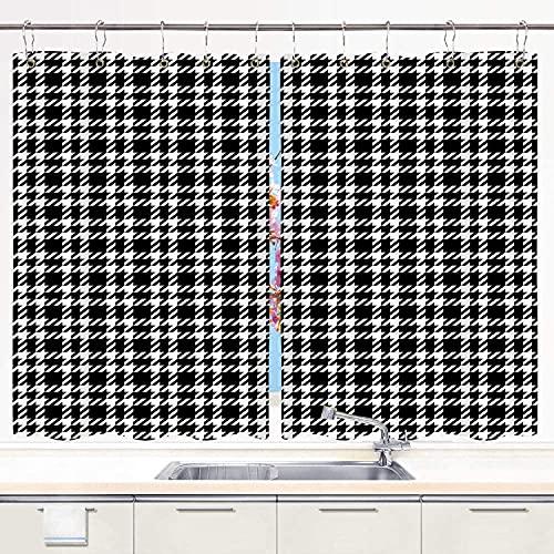 Cortina de Cocina,Azulejo con patrón de tartán de Pata de Gallo en Blanco y Negro, Cortinas Opacas térmicas Forradas para Ventana, 55 x 39 Pulgadas, 2 Paneles, Juego