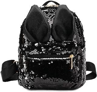 chinatera Sequins School Backpack, Cute Rabbit Ears Backpack Sequins Shoulder Bag Travel Daypack for Women Girls