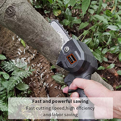 F.EASY.D Mini Chainsaw 4-Inch Cordless Electric Protable Chainsaw with Brushless Motor, One-Hand 0.7kg Lightweight, Pruning Shears Chainsaw for Tree Branch Wood Cutting (4inch, Black)