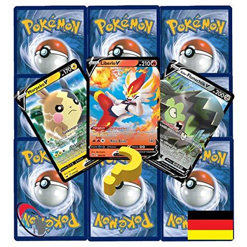 10 Pokemon wie EIN Booster inkl. 1 Pokemon V, Reverse & Stern Karte (zufällig ausgewählt) - Deutsch - Cardicuno