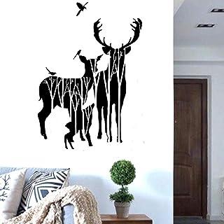 Details about  /Deer Horns Forest Jump Santa Claus New Year Wall Sticker Vinyl Decor NN2143