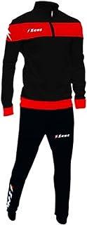Zeus Tuta Marte Ginnastica Allenamento Training Corsa Relax Jogging Sport (XXXL, Nero-Rosso)