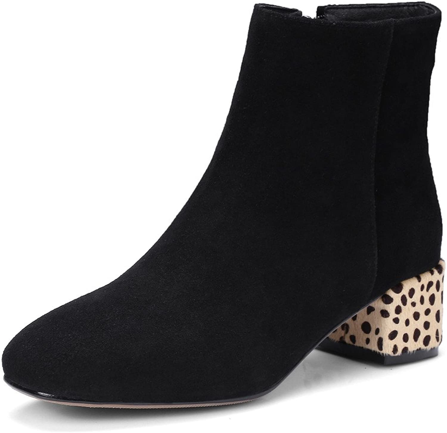 Nine Seven Suede Leather Women's Round Toe Chunky Heel Leopard Trendy Handmade Business Ankle Boots