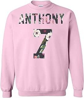 Exclusive Anthony Sweatshirt, Flower Art Carmelo Crewneck Pullover, 7, Perfect Basketball Gift, Unisex, Men, Women