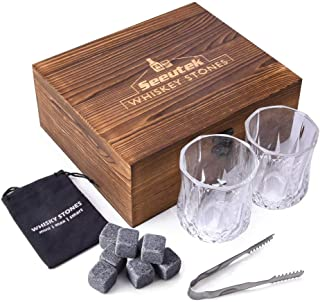 Whiskey Stones Gift Set with 8 Granite Scotch Chilling Rocks,2 Large Whiskey Glasses,1 Tongs,1 Velvet Pouch in Luxurious Wooden Gift Box