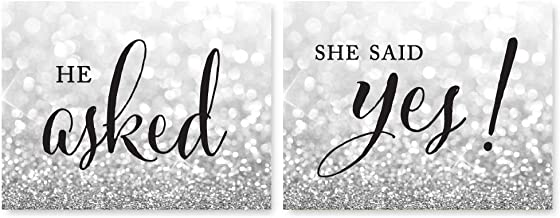 Andaz Press Wedding Party Signs, Glitzy Silver Glitter, 8.5x11-inch, He Asked, She Said Yes! Engagement Save The Date Photoshoot Signs, 2-Pack