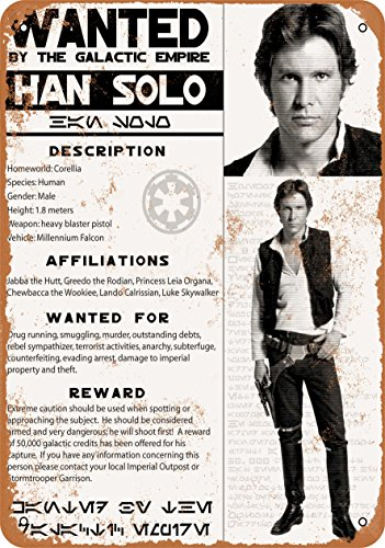9 x 12 Metal Sign - Han Solo Wanted Poster - Vintage Look