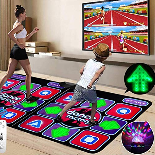 Double Dance Mat, Durable Musical Play Mat Dancer Blanket Dance Machine TV Interface LED 3D Running Blanket Yoga Game Machine Silicone Massage Learning Machine HD Quality Light for Children