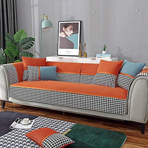Suuki Protectores de sofá,Protector de sofá de Sala de Estar de Moda,Fundas de decoración de sofá de Estudio,Protector de sofá de Esquina,sofá de Tienda de 1/2/3/4 plazas-Rojo Naranja_El 110 * 240cm