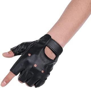JISEN Men PU leather Punk Half Finger Hollow Out Gloves