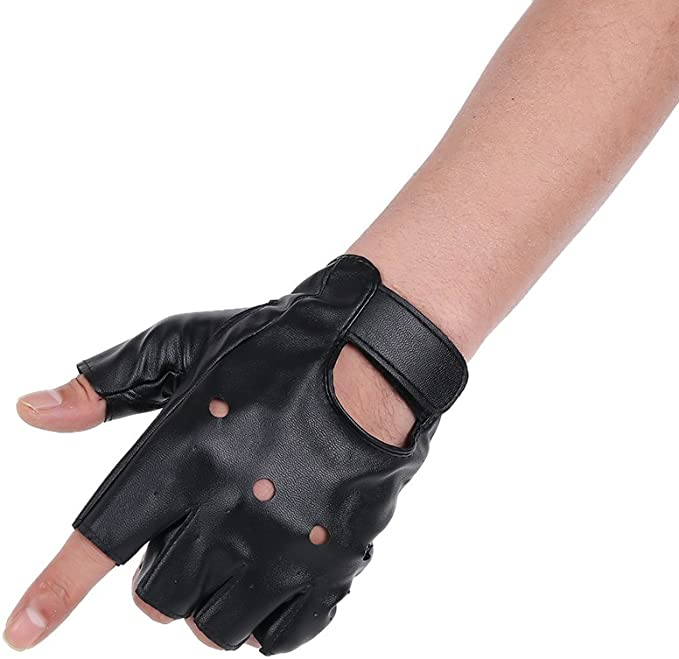 Men's PU Leather Fingerless Biker Gloves. Available with or without studs. Ideal for Terminator 1 Look.