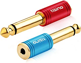 TISINO 1/4 Mono to 3.5mm Stereo Adapter, Gold Plated 6.35mm TS Male Plug to 1/8 inch TRS Female Audio Connector - 2 Pack