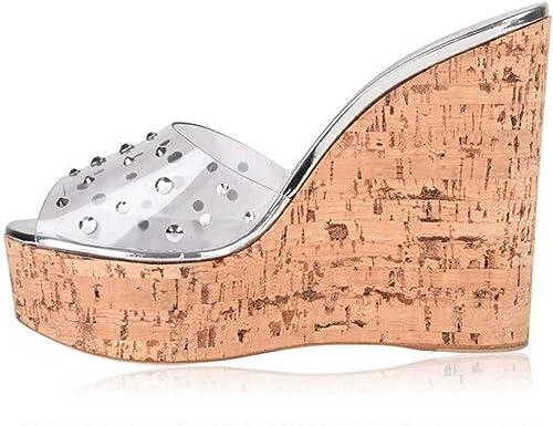 XLY Compensée Peep Toe Compensée Femme, Plateforme Transparente Sandales Chaussures Chaussures Bohême Chaussons Sandales,argent,39  point de vente