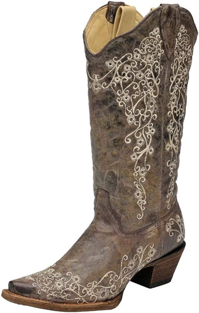 CORRAL Womens Snip Lisa Bone free shipping Translated Crater Embroidery