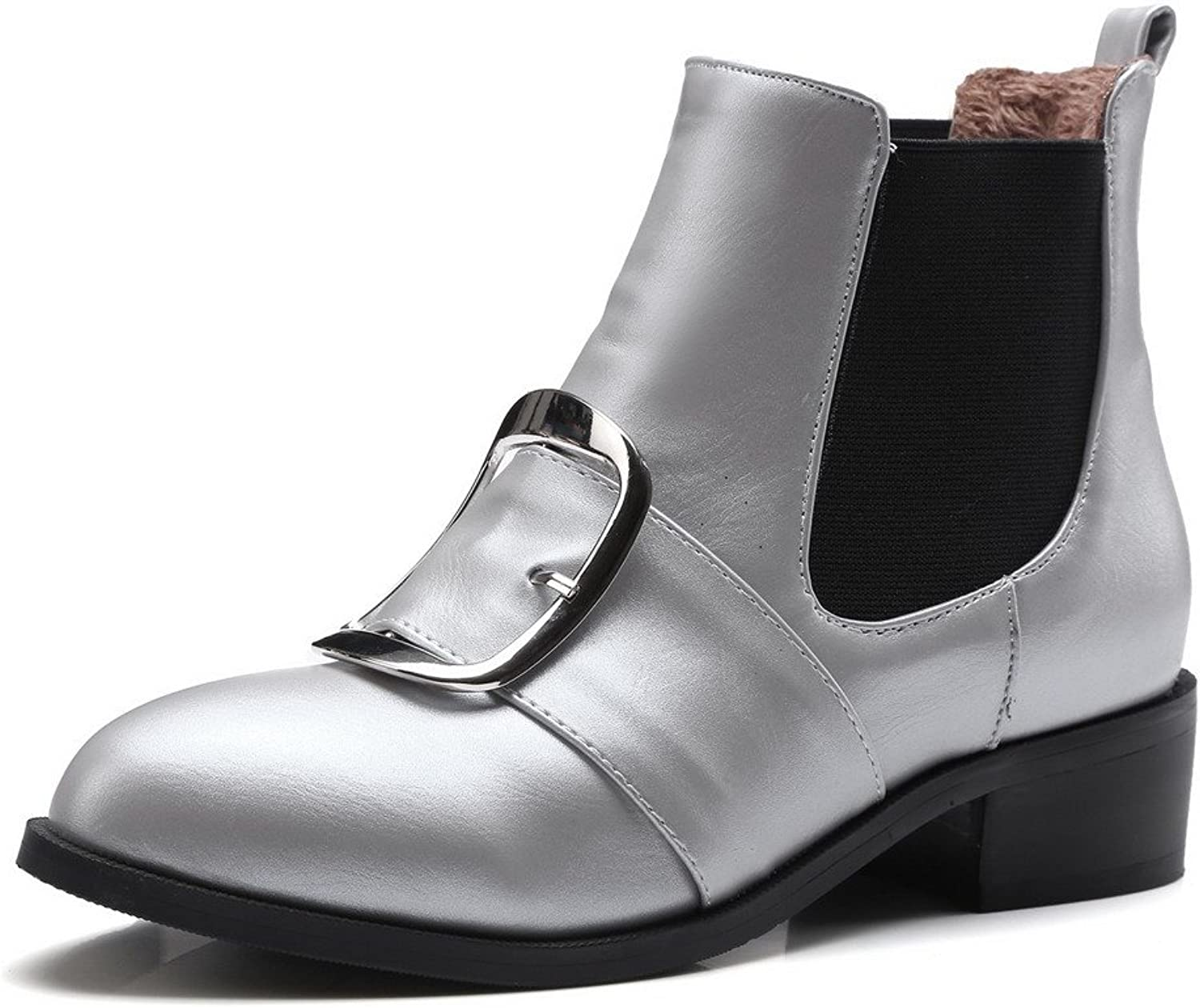 AmoonyFashion Women's Solid Low-Heels Round Closed Toe PU Pull-On Boots