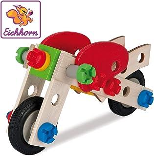 Eichhorn 100039012 - Constructor Motorrad, 40-tlg., Holz-Konstruktions-Set, 2 verschiedene Modellvarianten baubar, FSC 100% Zertifiziertes Buchenholz, Made in Germany