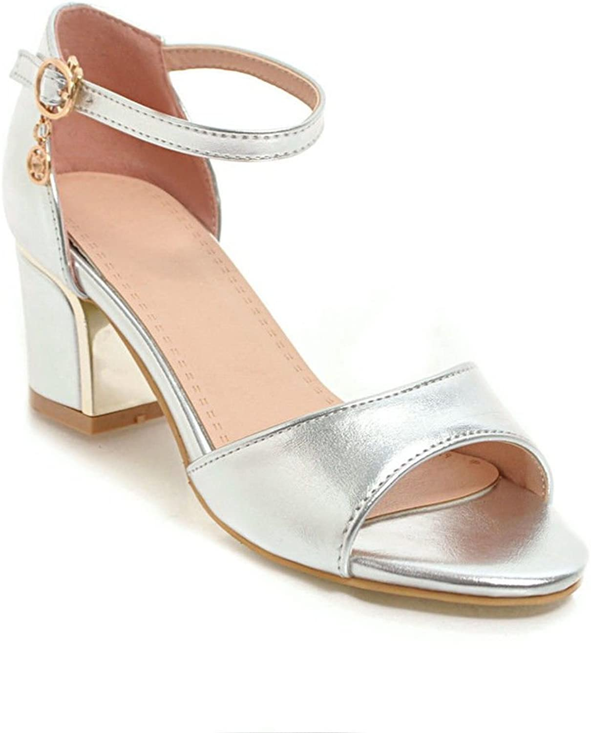 Ladies Sandals Glossy Thick with high-Heeled shoes Slotted Big Code Women shoes