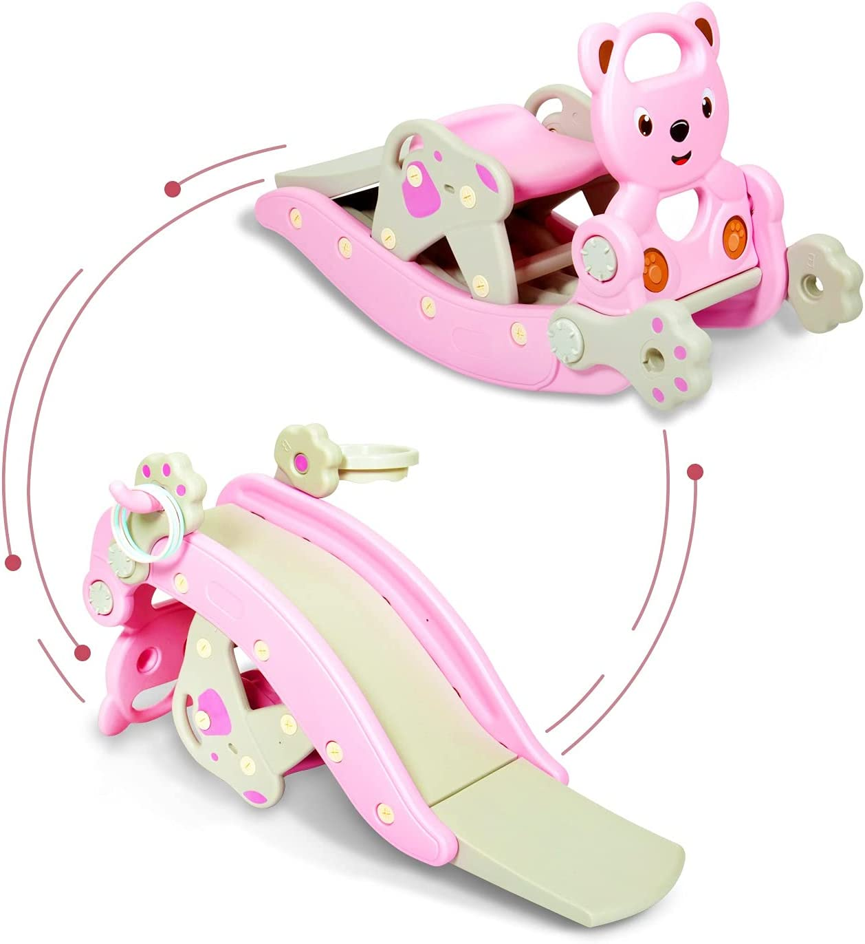 4 in 1 Rocking Horse Slide Set Toddler with Basketball Hoop and
