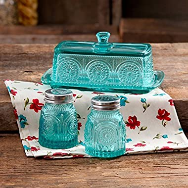 The Pioneer Woman Adeline Glass Butter Dish with Salt And Pepper Shaker Set,Turquoise | Stunning Adeline Butter Dish with Salt And Pepper Shaker Set - Turquoise