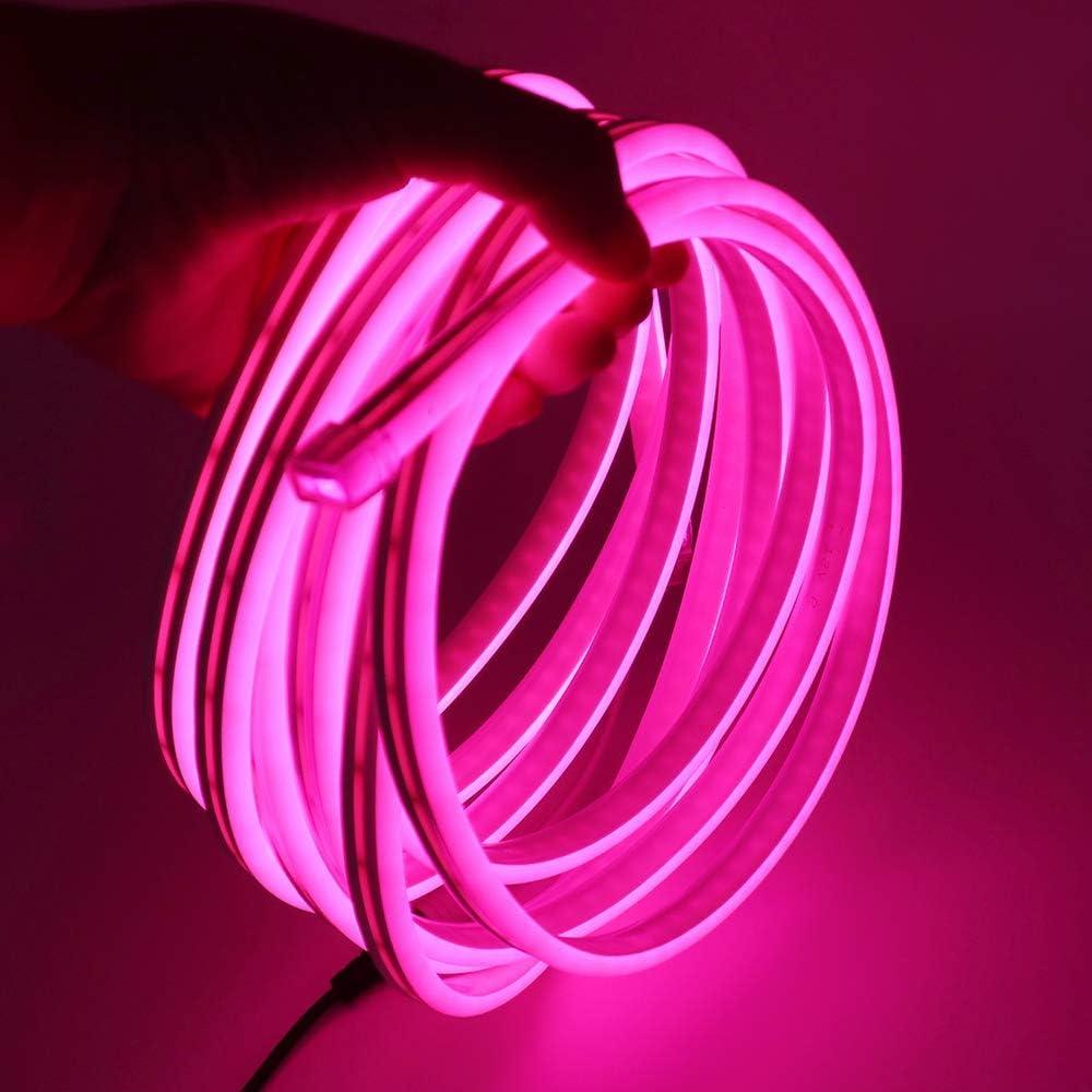XUNATA 12V Flexible LED Neon Rosa, 5m Impermeable 2835 Tira de LED Strip Light, Luz de la Cuerda para Exterior Fiestas Decoración Party Sign Publicidad Firmar