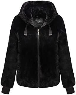 Bellivera Women's Faux Fur Jacket with 2 Side-Seam Pockets, The Coat with Hood