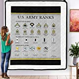 Personalized U.s States Army Rank Chart Reference Enlisted Officer Quilts to My Mom Dad Wife Husband Kids Son Daughter Quilt Sets King Queen Twin Throw Size Soft Warm All Season for St Patricks Day